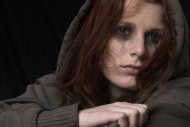 Sad woman face with smeared makeup