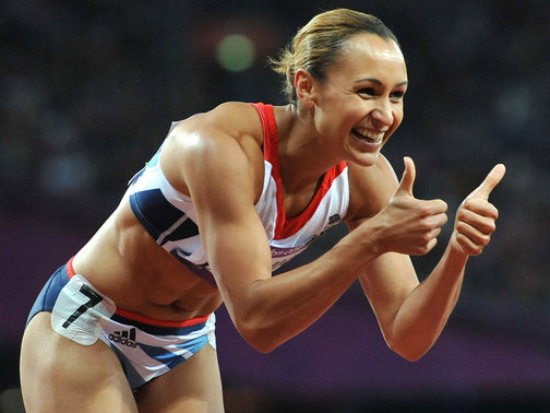 Jessica Ennis collecting her Olympic Gold Medal