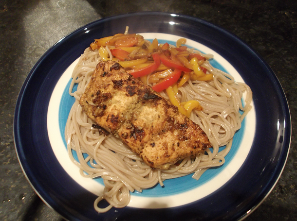 Spicy Salmon with Pepper Noodles