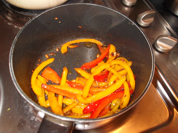 Sautéd peppers and garlic