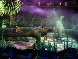 T-Rex stalks the Brachiosaurus