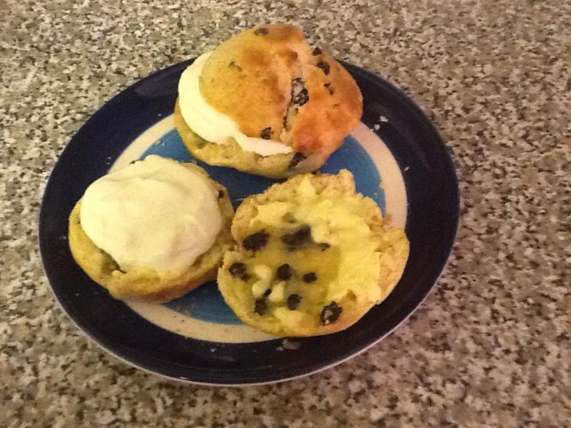 Scones, butter, and cream
