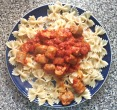sausages and pasta in tomato sauce